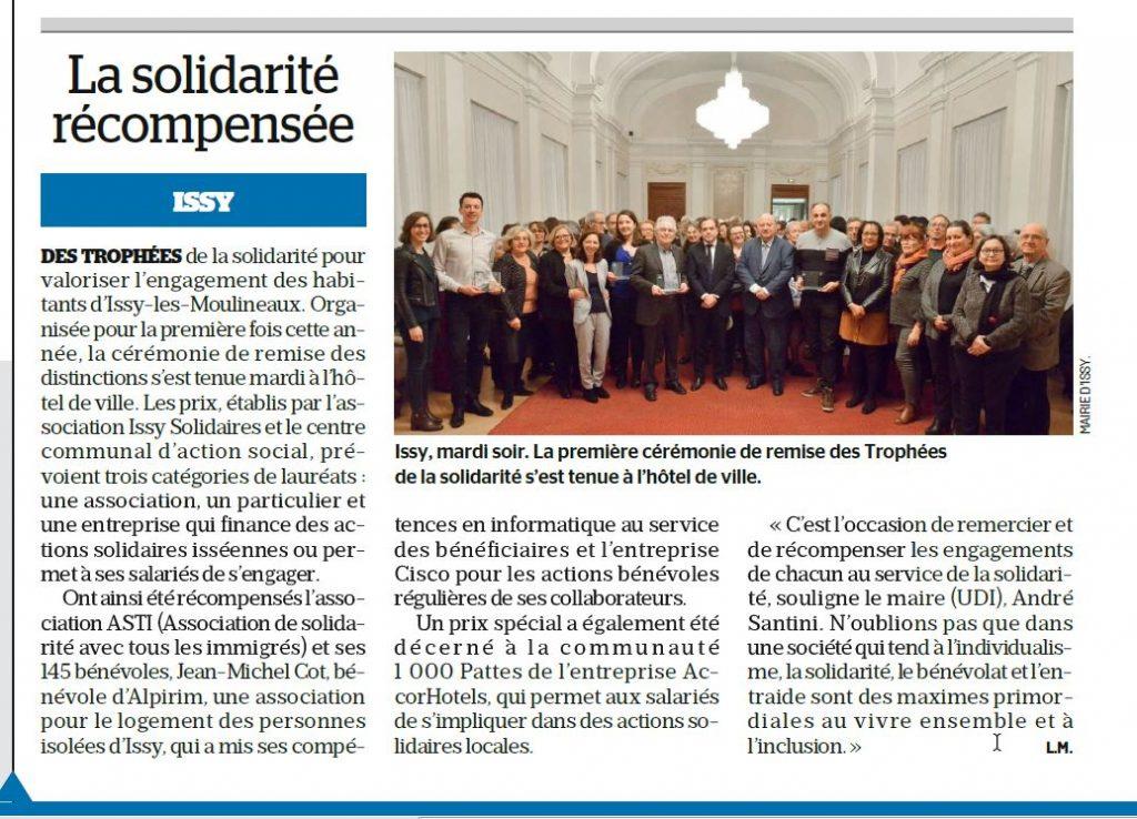 Article parisien trophée solidarité Issy